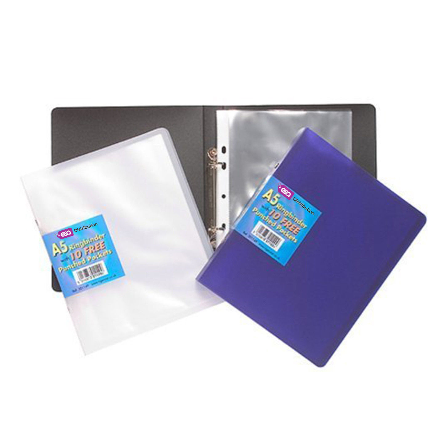 12 X A5 Slim Ring Binder Book + 10 Plastic Punched Clear
