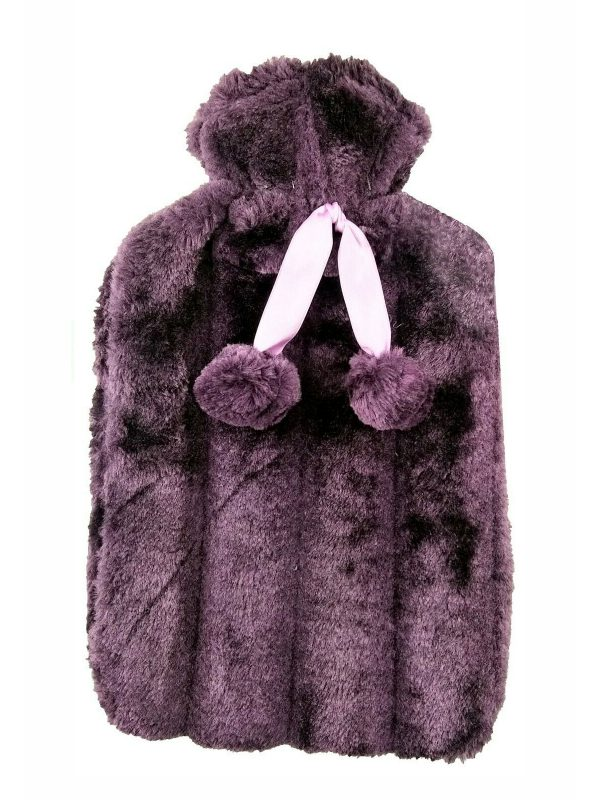 purple faux fur hot water bottle