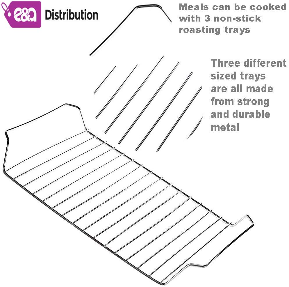 Non Stick Oven and Grill Cooling Racks for Baking and Panini Maker Tray Pan Set 33.3X35cm 3 Roasting Trays with Racks