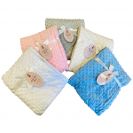 Bubble fleece blanket in white cream pink blue and grey