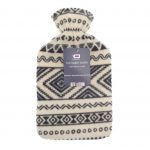 Cream and Black Hot Water Bottle- Fleece Hot Water Bottle cover pattern, uk, wool fleece hot water bottle, fleece neck, argos