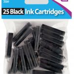 25 pack of pen ink cartridge in black