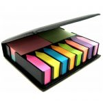 sticky notes and holder with 12 assorted colours including 4 rectangular pads and 8 arrow index