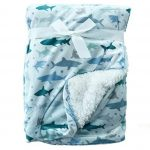 Blue Shark design fur back blanket
