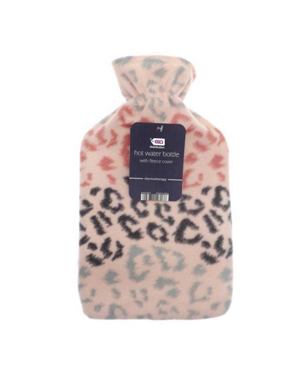 leopard pink hot water bottle-Hot Water Bottle- Fleece Hot Water Bottle cover pattern, uk, wool fleece hot water bottle, fleece neck, argos