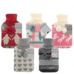 6 knitted pompom hot water bottles