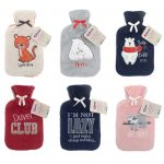 6 velvet hot water bottles