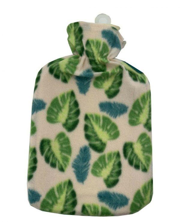 green leaves hot water bottle Fleece Hot Water Bottle cover pattern, uk, wool fleece hot water bottle, fleece neck, argos