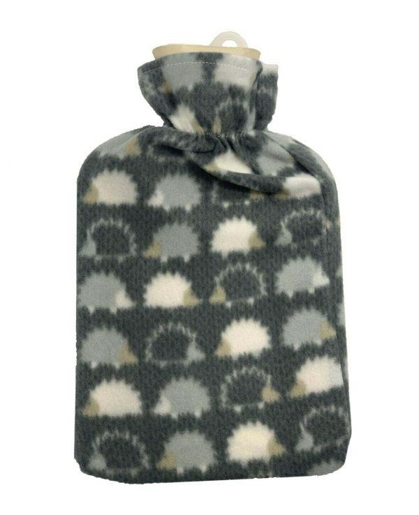 grey hedgehog hot water bottle Fleece Hot Water Bottle cover pattern, uk, wool fleece hot water bottle, fleece neck, argos