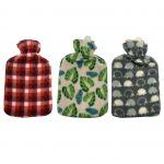 red check , green leaves, grey hedgehog Fleece Hot Water Bottle cover pattern, uk, wool fleece hot water bottle, fleece neck, argos