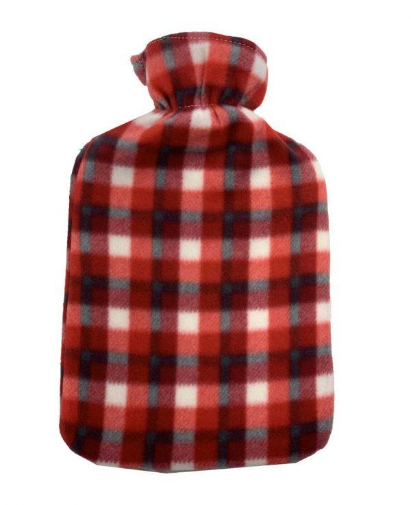 red check hot water bottle Fleece Hot Water Bottle cover pattern, uk, wool fleece hot water bottle, fleece neck, argos