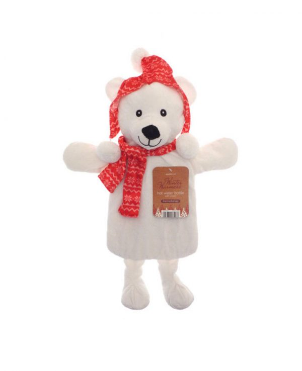 Christmas Novelty Hot Water Bottles- Polar Bear, Christmas hot water bottle cover, christmas gift hot water bottle, christmas novelty hot water bottle cover