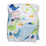 Dinosaur Blanket Front-faux fur baby blanket, fur back baby blanket, soft touch baby blanket, soft fleece baby blanket