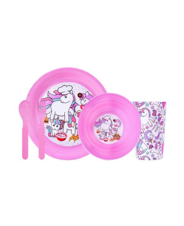 Girls Pink Unicorn Plastic Dinner Set, Children's Plastic Dinner Set, Kids plastic dinner set, childrens dinner set asda argos tesco 2