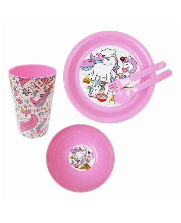 Girls Pink Unicorn Plastic Dinner Set, Children's Plastic Dinner Set, Kids plastic dinner set, childrens dinner set asda argos tesco 3