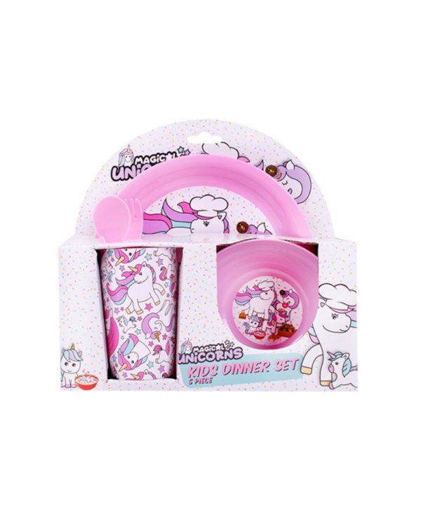 Girls Pink Unicorn Plastic Dinner Set, Children's Plastic Dinner Set, Kids plastic dinner set, childrens dinner set asda argos tesco