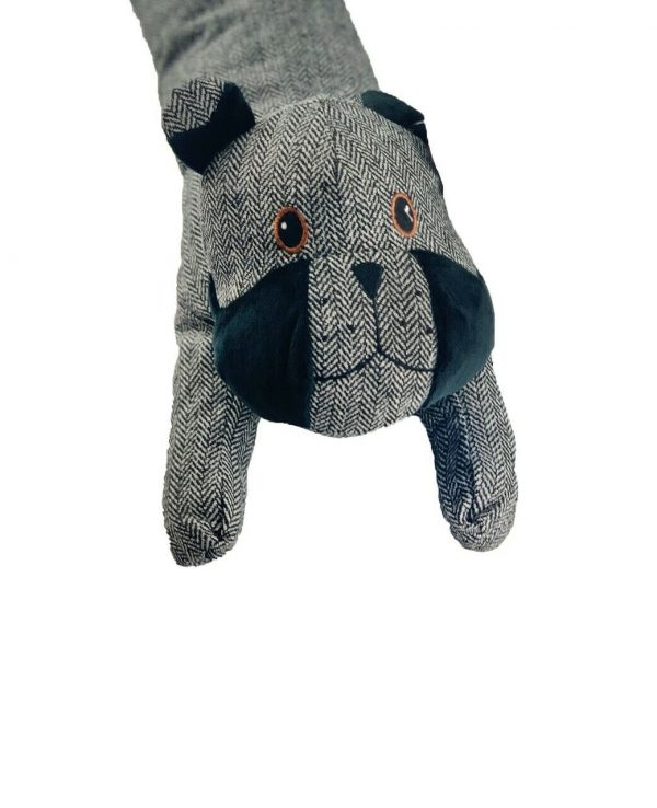 Grey Dog Herringbone Door Draught excluder-animal door draught excluder, funky draught excluders, sausage dog draught excluder, sausage dog draught excluder sewing pattern