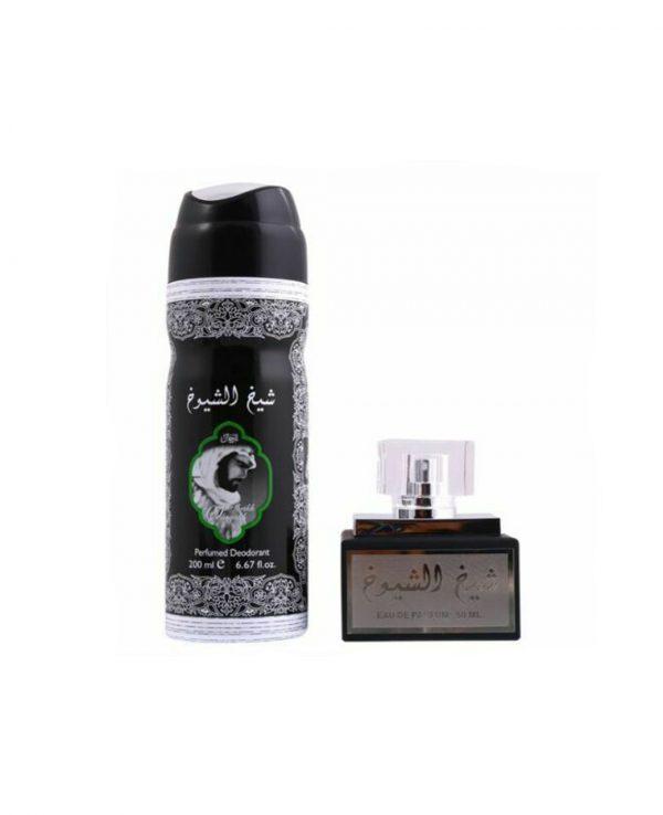 Sheikh Shuyukh 50ml and 200ml perfume deoderant 2arabian oud perfume gift set. best arabian oud fragrance, arabic perfume for ladies, arabic perfumes uk