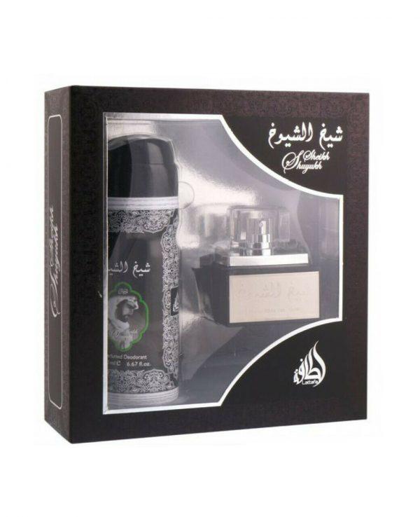 Sheikh Shuyukh 50ml and 200ml perfume deoderantarabian oud perfume gift set. best arabian oud fragrance, arabic perfume for ladies, arabic perfumes uk