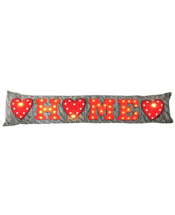 Soft Fabric Home draught excluder- funky draught excluders,draught excluder cushion, home sweet home draught excluder, red hearts and home