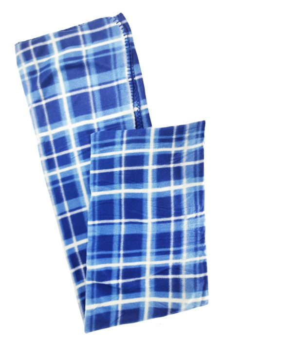 blue check tartan fleece throw blanket-throws home decor, tartan pattern throw blanket, check print fleece blanket 2