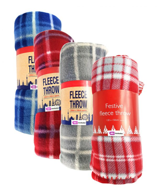 red blue grey check tartan fleece throw blanket-throws home decor, tartan pattern throw blanket, check print fleece blanket