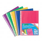 A4 Coloured Punch Pockets 45 Micron- heavy duty punched pockets