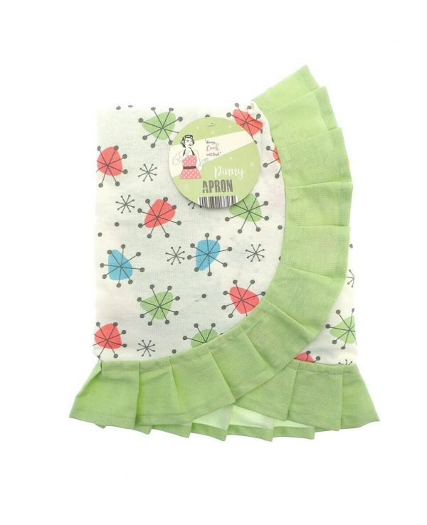 Green Vintage Frilly Waist Apron-1950s housewife apron, pretty vintage apron 2
