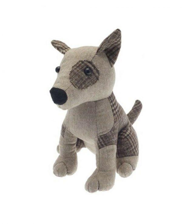 Herringbone check brown dog door stop- animal door stop, novelty door stop