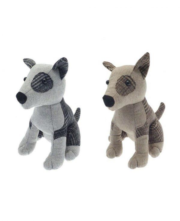 Herringbone check grey brown dog door stop- animal door stop, novelty door stop