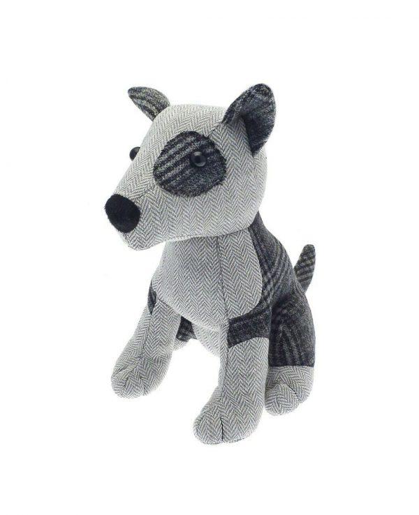 Herringbone check grey dog door stop- animal door stop, novelty door stop