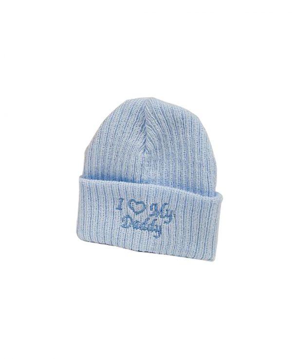 I Love Daddy Blue 2-newborn baby beanie hat, knitted baby hat