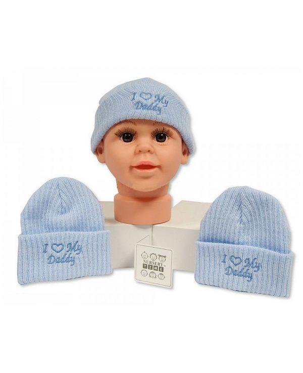 I Love Daddy Blue-newborn baby beanie hat, knitted baby hat