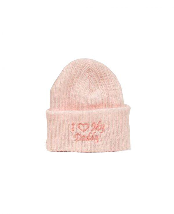 I Love Daddy Pink 2-newborn baby beanie hat, knitted baby hat