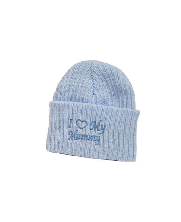 I Love Mummy Blue 2-newborn baby beanie hat, knitted baby hat