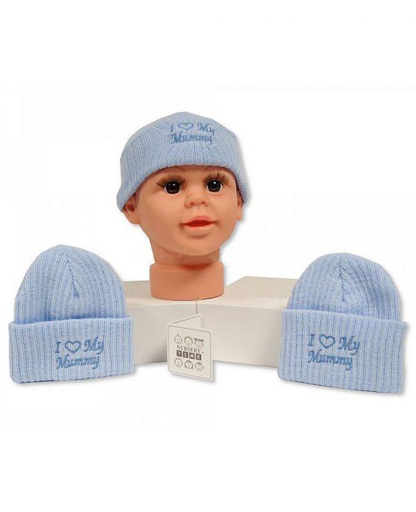 I Love Mummy Blue-newborn baby beanie hat, knitted baby hat