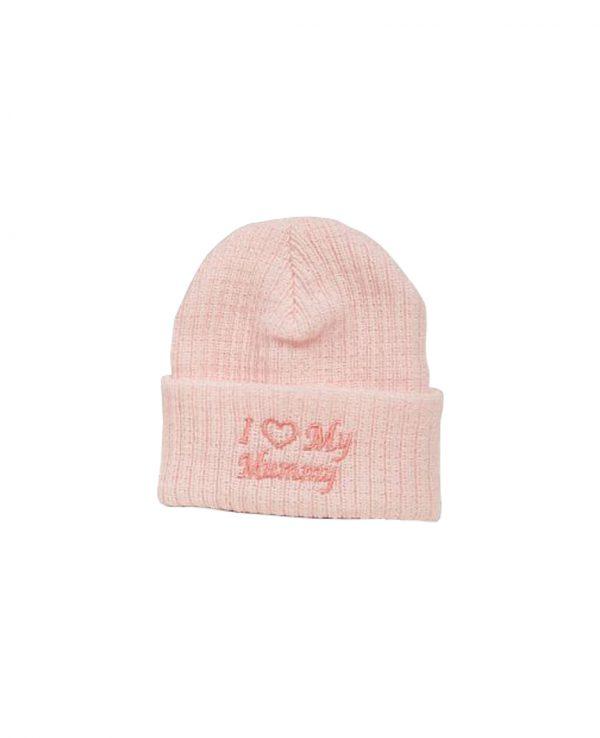 I Love Mummy Pink 2-newborn baby beanie hat, knitted baby hat