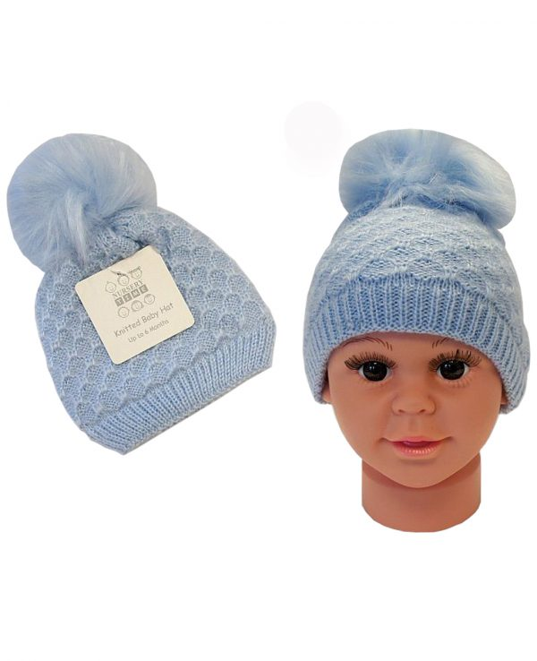 Knitted Baby Pom Bobble Hat Blue-baby knitted hat with pom pom 2