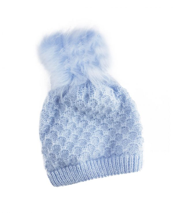 Knitted Baby Pom Bobble Hat Blue-baby knitted hat with pom pom
