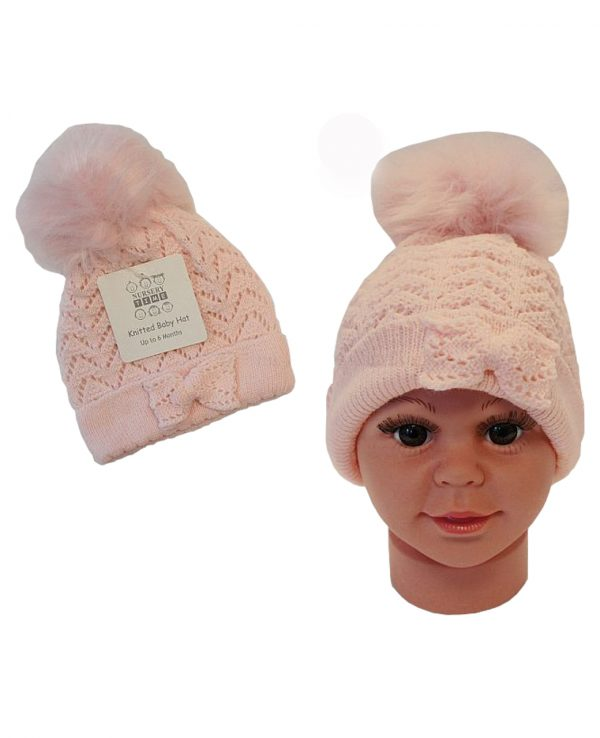 Knitted Baby Pom Bobble Hat Pink -baby knitted hat with pom pom