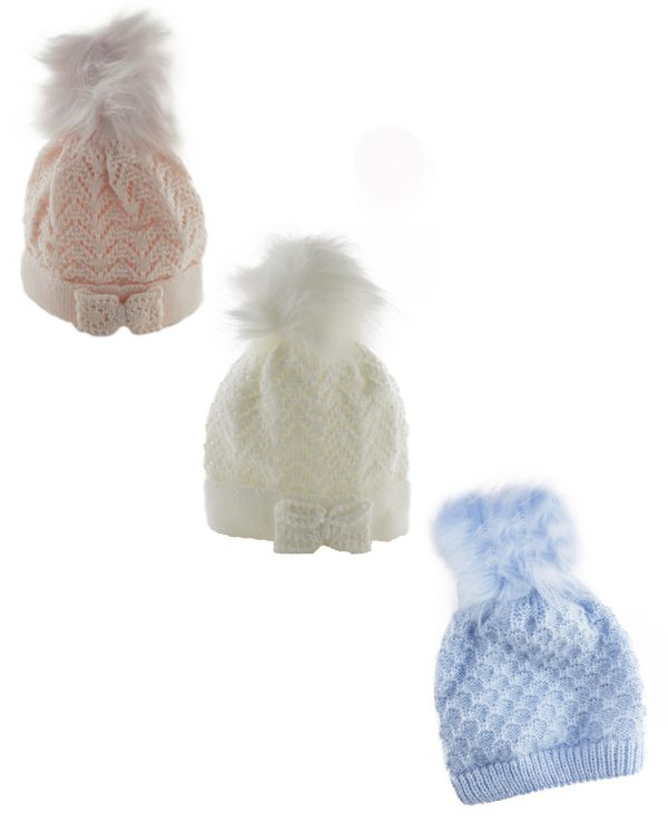 Knitted Baby Pom Bobble Hat White Cream Pink Blue-baby knitted hat with pom pom
