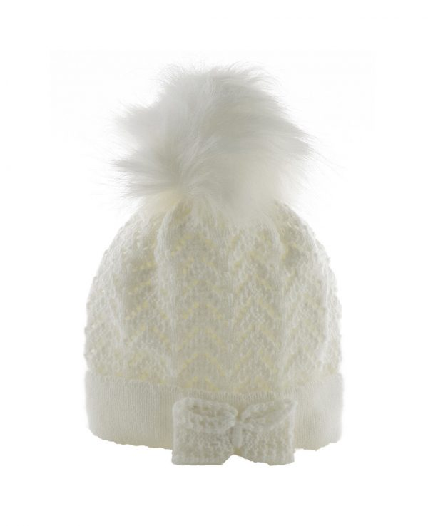 Knitted Baby Pom Bobble Hat White Cream-baby knitted hat with pom pom 2