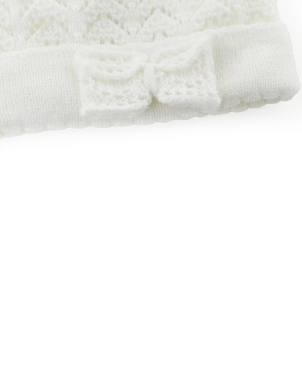 Knitted Baby Pom Bobble Hat White Cream-baby knitted hat with pom pom 4