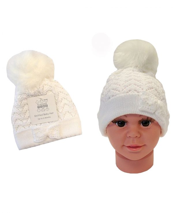 Knitted Baby Pom Bobble Hat White Cream-baby knitted hat with pom pom
