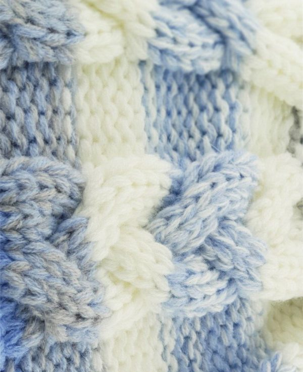 Knitted Baby Striped Pom Pom Hat Blue Grey -baby knitted hat with pom pom,knit baby hat with lining 2
