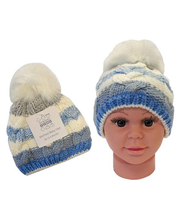 Knitted Baby Striped Pom Pom Hat Blue Grey -baby knitted hat with pom pom,knit baby hat with lining 3