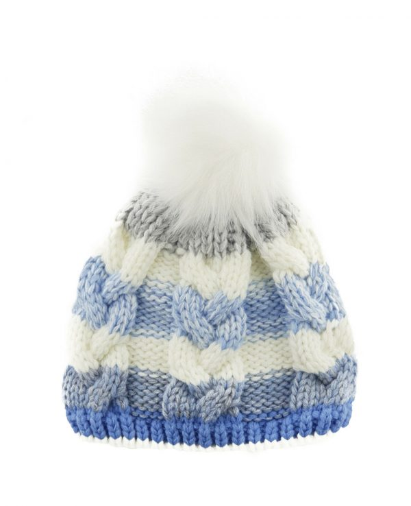 Knitted Baby Striped Pom Pom Hat Blue Grey -baby knitted hat with pom pom,knit baby hat with lining