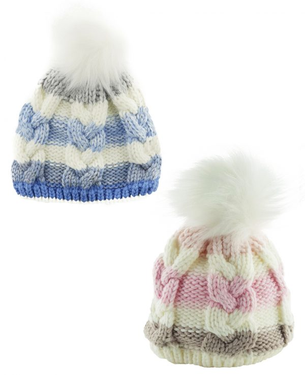 Knitted Baby Striped Pom Pom Hat Pink Blue Grey -baby knitted hat with pom pom,knit baby hat with lining