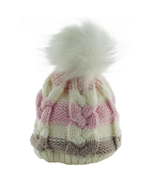 Knitted Baby Striped Pom Pom Hat Pink Grey -baby knitted hat with pom pom,knit baby hat with lining 2