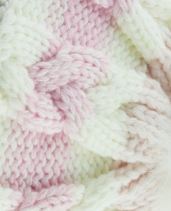 Knitted Baby Striped Pom Pom Hat Pink Grey -baby knitted hat with pom pom,knit baby hat with lining 3